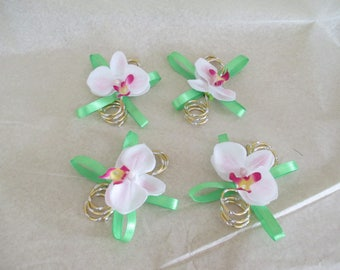 Brooch-wedding - green, pink and gold boutonniere
