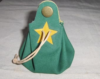 Purse is Mint green leather - yellow handmade