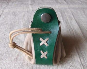 Worn purse wallet leather handmade ecru-Green