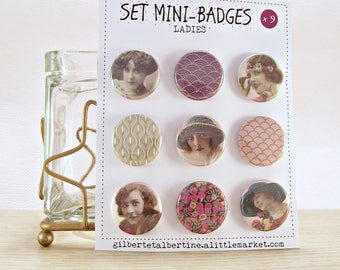 "Mini badges 25 mm / ""Ladies""."