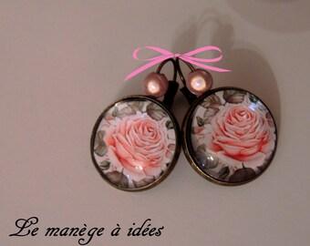 """Bronze Stud Earrings """"Pretty pink""""."""
