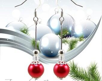 Kit noël création boucles d'oreille perles verre nacré rouge