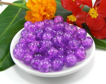 Set of 10 8 mm purple cracked glass beads
