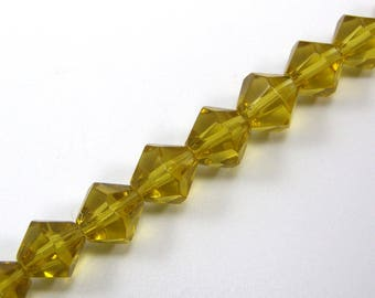 Set of 20 beads 8 mm yellow glass