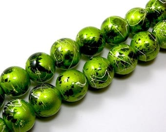 Set of 5 glass 12 mm lime green drawbench beads