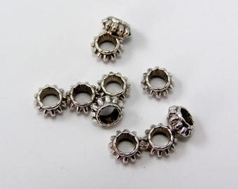Spacer beads silver antique 7 mm x 4 mm hole 3 mm set of 10