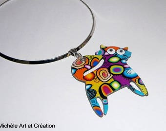 Necklace multicolor cat polymer clay