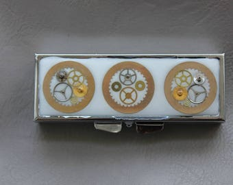 Pill box or small box rectangle, resin and watch parts Steampunk