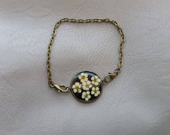Bracelet metal aspect bronze 2 cm resin and dried flowers of spirea