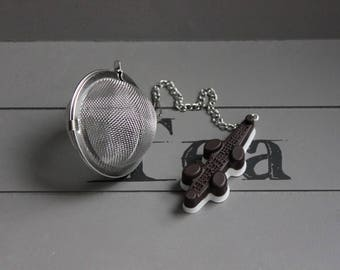 Tea Infuser tea, stainless steel, Brown and white resin alligator candy ball