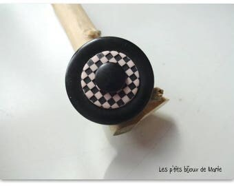 Black button and pink and black damie ring