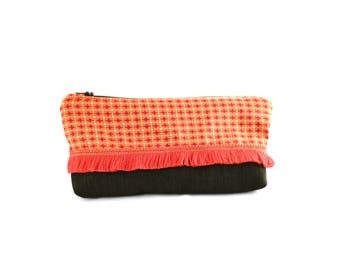 Linen cotton and Brown case orange and pink print