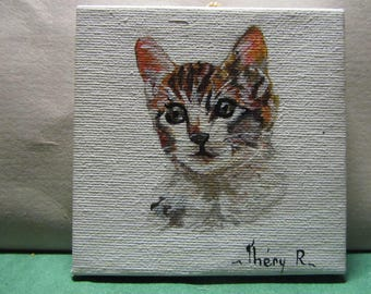 tricolor cat on canvas painting