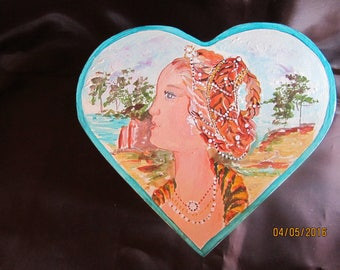 fully painted with acrylic heart shaped wooden box