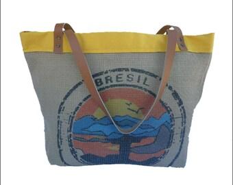 Jumbo Tote Bag, Tote Bag, Recycled Coffee Bag, Brazil