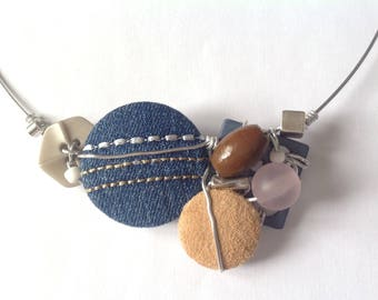Necklace made of fabric (denim and  suedette) buttons