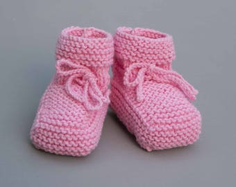 Pink 100% cotton baby booties, handmade