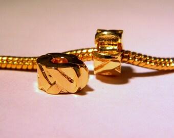 2 clip clasp 10.5 mm - Golden - blocker stopper for European bead bracelet style pandor @ 10.5 x 6 mm - D47