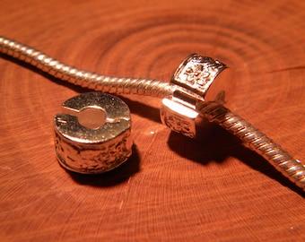 Clip clasp - silver - blocker stopper for European bead bracelet style pandor @ 11 x 10.5 mm D121
