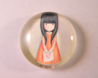 5 glass cabochons prints - little girl - domed - 20 mm CAB03
