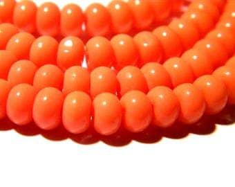 30 beads 6 x 4-glass abacus - pumpkin jade - orange F119 4 way