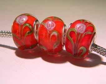 2 bead charm European - glass lampwork - 14 x 11 mm-inlaid rose red - D45