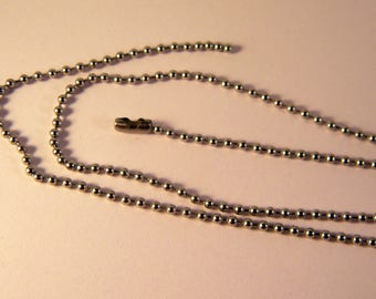 1 necklace chain ball 0.3 mm 53 cm stainless steel color N ° 3