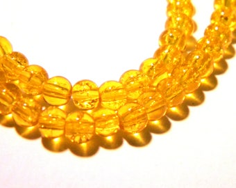 100 4 mm glass beads - Crackle glass - glass bead cracked - 4 mm - mustard - G97-6