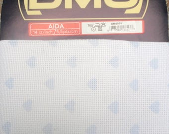 Little hearts DMC Aida canvas
