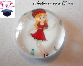 1 cabochon clear 25 mm round theme Miss Strawberry