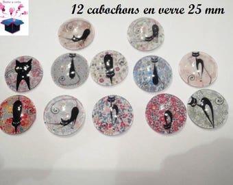 12 glass cabochons 25 mm black flower theme