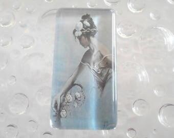1 cabochon glass size 48 mm x 24mm dancer theme