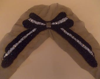 Bow tie shaped applique sewing beading seed beads and sequins 14 x 17 cms