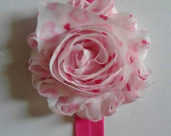 Free Shiping - Pink shabby chiffon headband with hearts