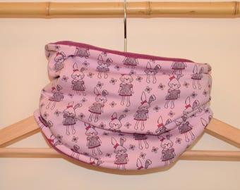 Choker, snood, loop scarf child bunnies and baby pink, dark pink fleece Interior