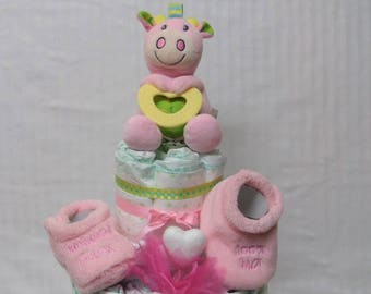 Baby blanket personalized and useful pink cow girl diaper cake
