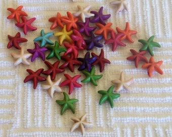 10 beads howlite multicolored starfish