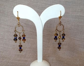 Tiger's eye and Swarovski crystal earrings.
