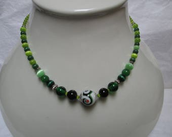 Necklace Lampwork beads/cat eye beads