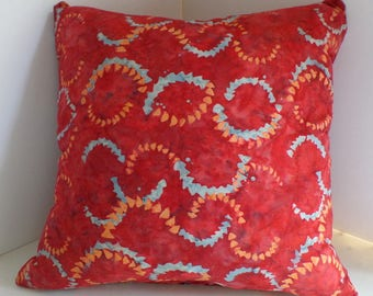 Throw Pillow Cover Zippered in Red Batik with Blue and Orange Swirls