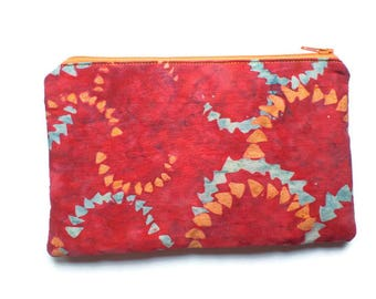 Zippered Cosmetic Bag, Makeup Pouch, Toiletries Purse, Pencil Case, in Red Batik Fabric, Fully Lined