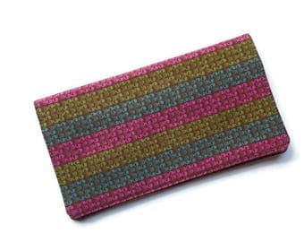 """Fabric Checkbook Cover 6.5""""x3.5"""", Coupons Wallet, Cash Holder Green Teal and Fuchsia Stripes"""