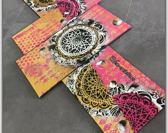 Colorful, pink and gold contemporary painting, mandala,