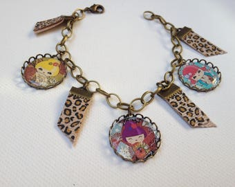 Bracelet charms retro kokeshi and leopard Ribbon cabochon