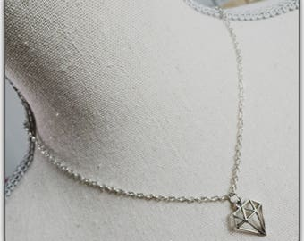 The silver pendant Choker necklace, geometric, diamond