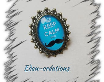 Ring glass cabochon, keep calm, turquoise, retro, whiskers