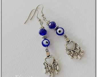 "Pearl Earrings ""eye"" glass and charms"