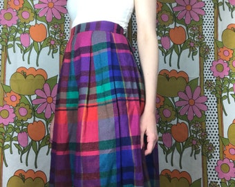Vintage Long Multicolored Plaid Skirt