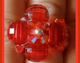 Red flower ring with bicones