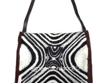 """Large felted bag """"Ostinato"""" 38X32cm - felted wool needle, silk, leather - unique"""